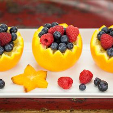Fruit Salad in Orange Cups