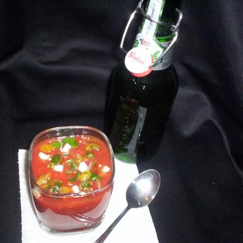 Gazpacho with Salsa and Feta