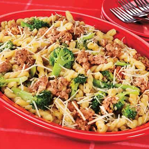 Gemelli with Sausage, Broccoli and Romano Cheese