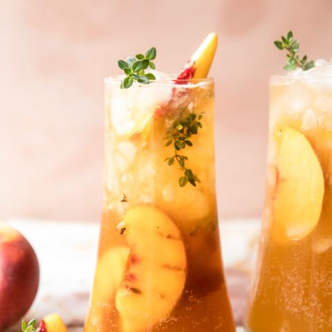Gingered Peach Bourbon Thyme Smash