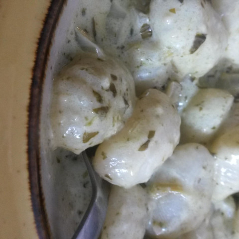 Gnocchi with Basil Cream Sauce