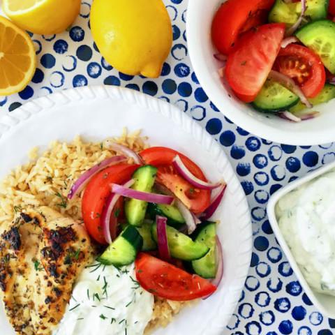 Greek Chicken Rice Bowl with Tzatziki and Salad