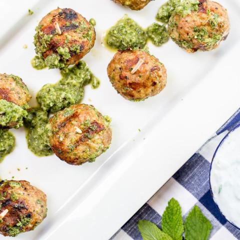Greek Turkey Meatballs with Cucumber Mint Sauce