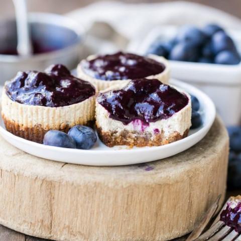 Greek Yogurt Vanilla Bean Cheesecakes with Blueberry Compote