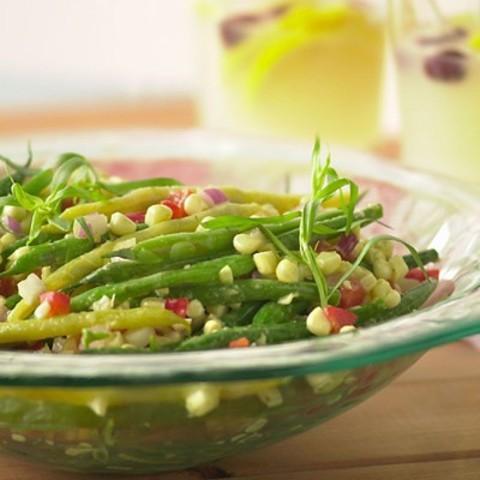 Green and Yellow Bean Salad with Sweet White Corn and Tarragon Dijon Vinaig
