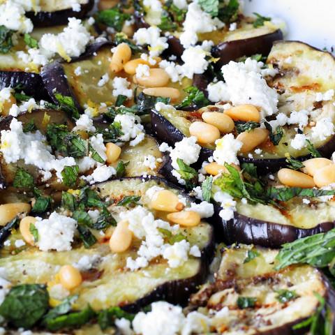 Grilled Eggplant Salad with Feta, Pine Nuts & Garlicky Yogurt Dressing