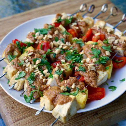 Grilled Pineapple, Bell Pepper & Tofu Skewers with Coconut Peanut Sauce