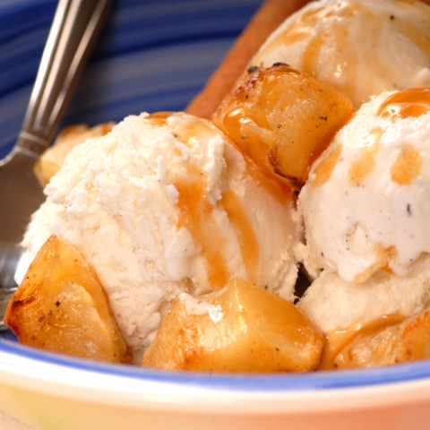 Grilled Pineapple with Ice Cream & Rum Sauce
