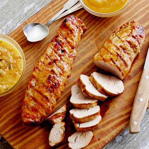 Grilled Pork Tenderloin a la Rodriguez with Guava Glaze and Orange-Habanero