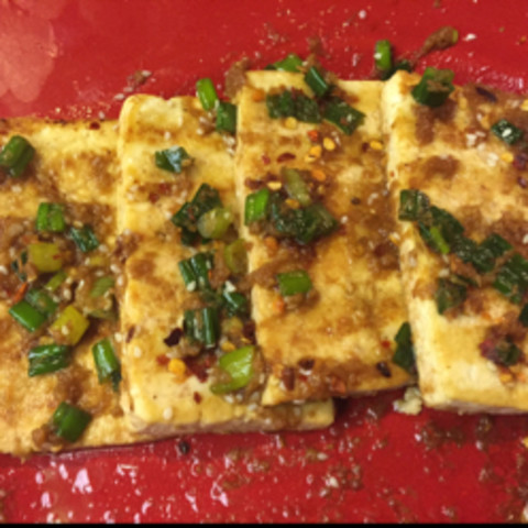 Grilled tofu with ginger-soy dressing