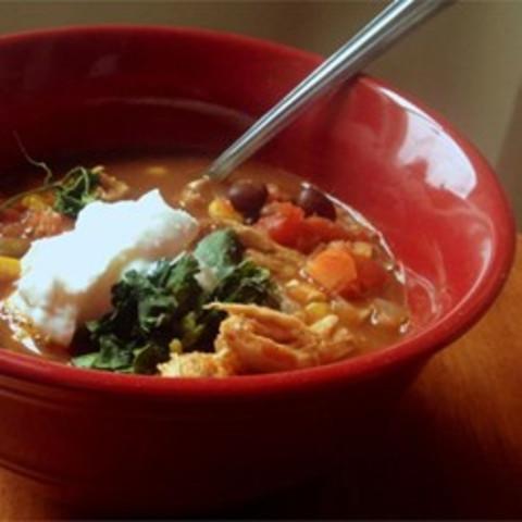 Healthier Slow Cooker Chicken Taco Soup
