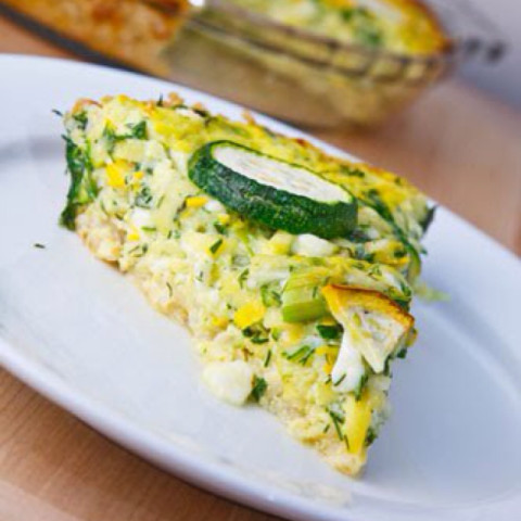 Herbed Zucchini and Feta Quiche with a Brown Rice Crust