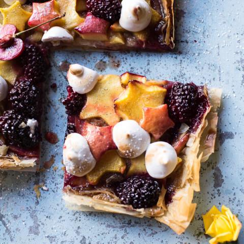 Honey Butter Stone Fruit and Blackberry Meringue Tart
