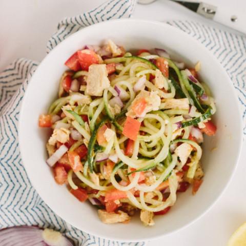 Israeli Cucumber Noodle Salad with Tuna