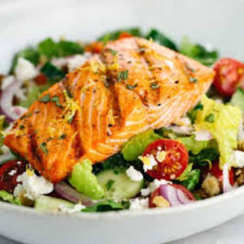JGG's Salmon Salad in a Garlic-Honey Vingarettee
