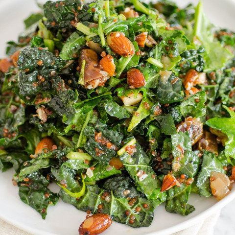 Kale and Quinoa Salad with Dates, Almonds and Citrus Dressing