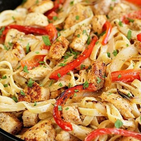 Kim's Cajun Chicken Linguini (can sub Jumbo Shrimp too)