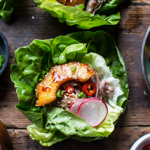 Korean Pineapple Pork Lettuce Wraps