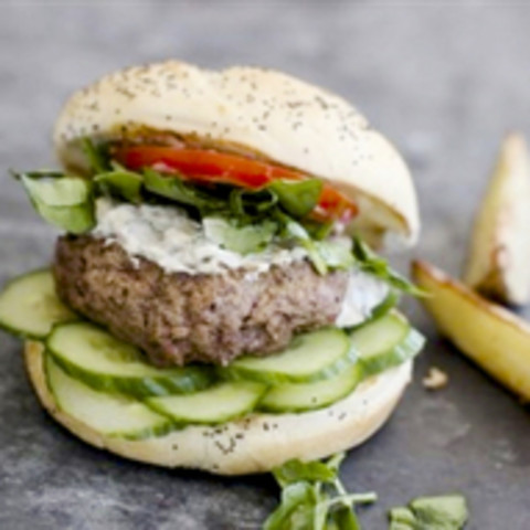 Lamb Burgers with Watercress and Creamy Mint Sauce