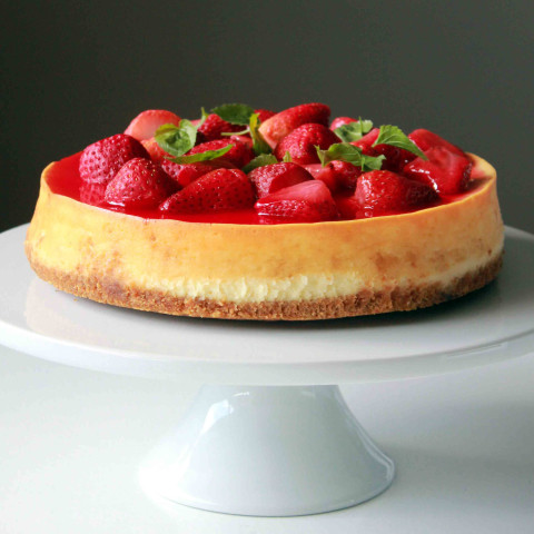Lemon Cheesecake with Strawberry Basil Topping