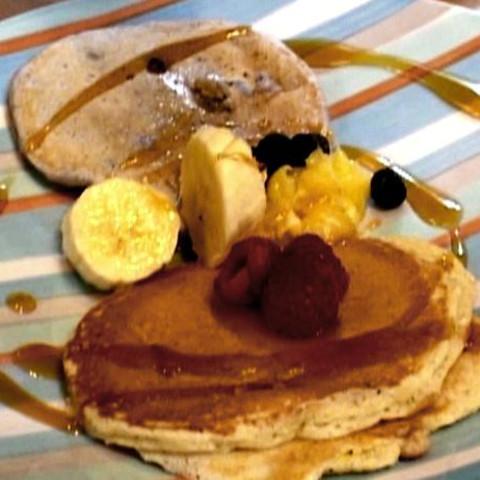 Lemon Ricotta Pancakes with Lemon Curd and Fresh Raspberries