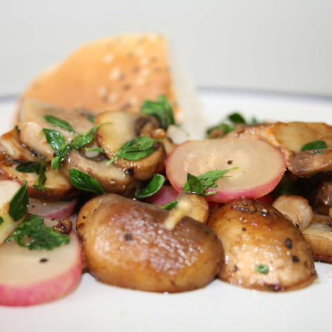 Lemon thyme infused mushrooms with backed radish