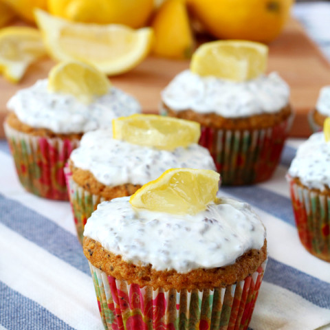 Lemon Poppy Seed Muffins with Greek Yogurt Frosting