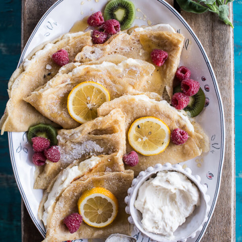Lemon Sugar Crepes with Whipped Cream Cheese.
