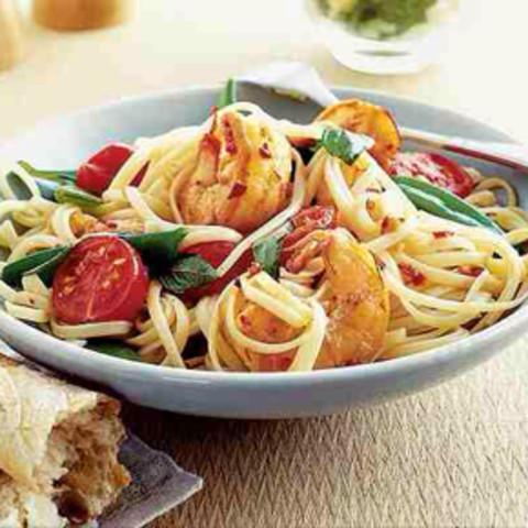 Linguini with Honey-Sauced Prawns