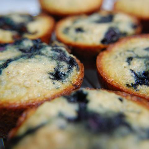Low-fat High Fiber Blueberry Bran Muffins