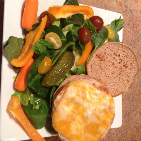 Low-fat Turkey Burgers and  Poppyseed dressing salad