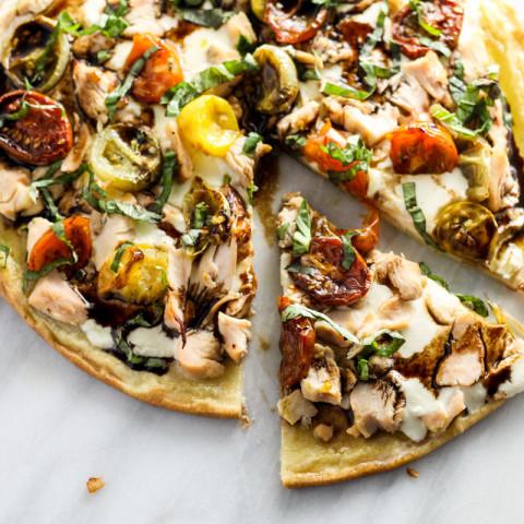 Low Fodmap Bruschetta Pizza with Chicken