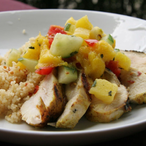 Mango Salsa over Grilled Chicken and Couscous