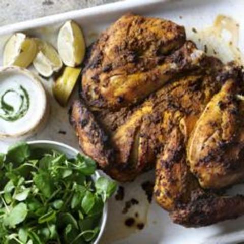 Masala-marinated chicken with minted yoghurt sauce