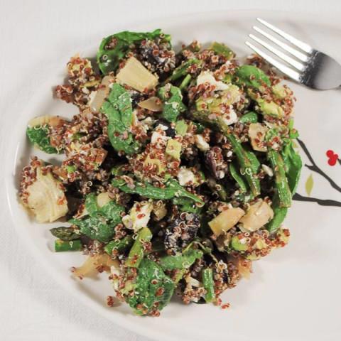 Mediterranean Asparagus and Quinoa Salad with Artichokes, Avocado and Feta