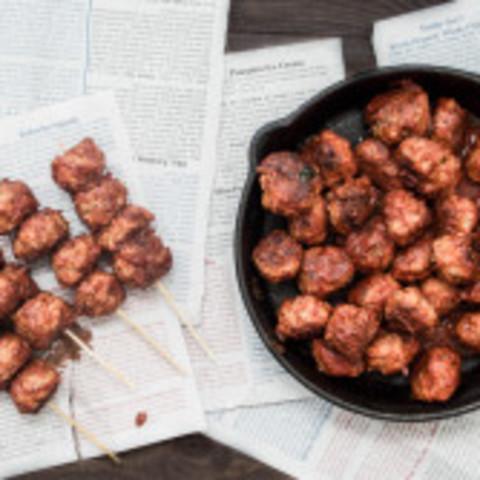 Mini Healthier Italian Meatball Skewers