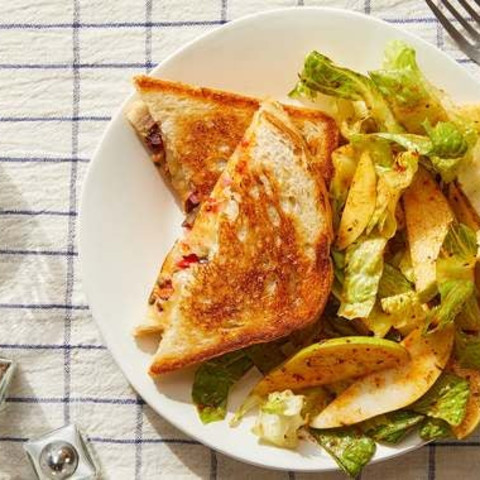 Muffuletta-Style Grilled Cheese with Pear & Romaine Salad