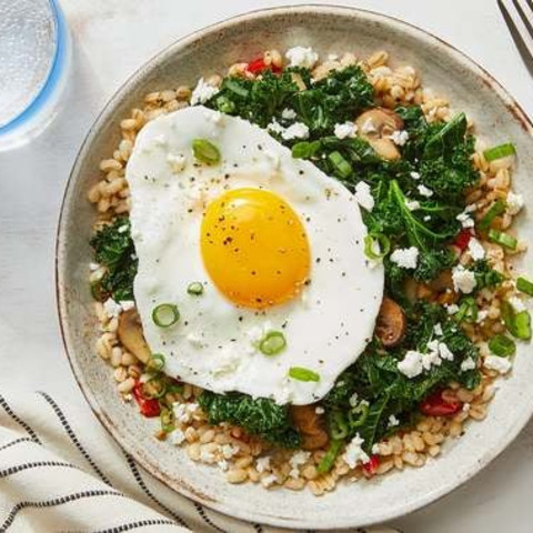 Mushroom & Barley Bowls with Fried Eggs, Kale & Parmesan Cheese