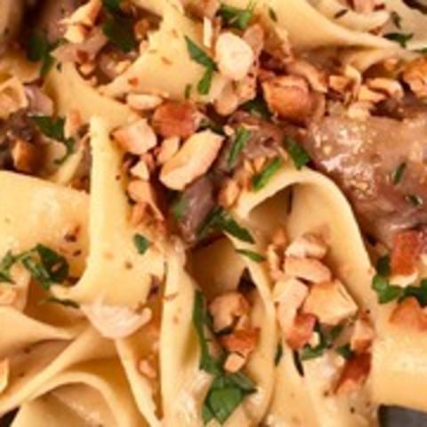 Mushroom and Cashew Cream Pappardelle