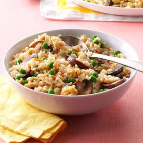 Mushroom and Peas Rice Pilaf Recipe
