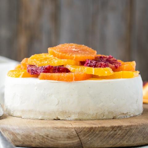 No-Bake Lemon Cheesecake with Citrus Topping (Gluten Free, Paleo + Vegan)
