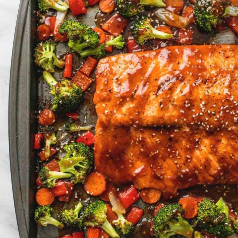 One Pan Baked Teriyaki Salmon and Vegetables