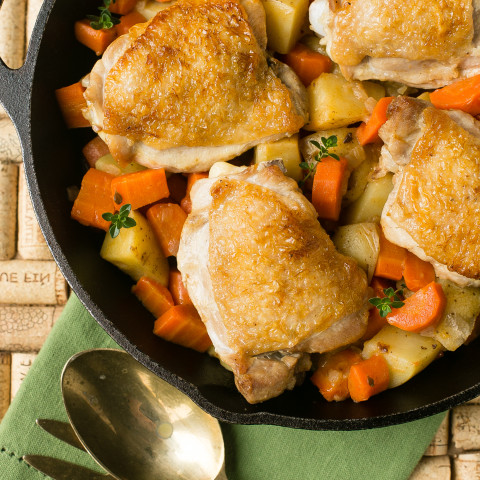 One Pot Braised Chicken with Carrots and Potatoes