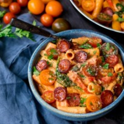 One Pot Creamy Tomato and Chorizo Rigatoni