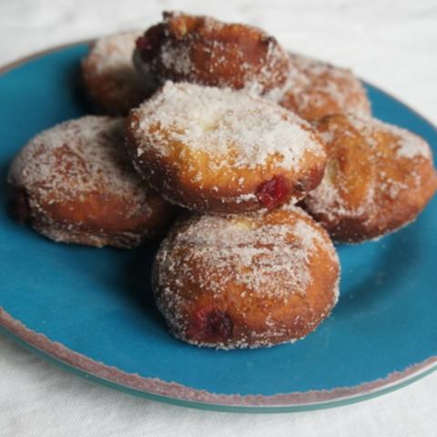 Orange Cranberry Thanksgivukkah Jelly Doughnuts