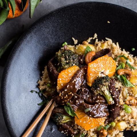 Orange Teriyaki Beef with Pineapple Edamame Fried Rice