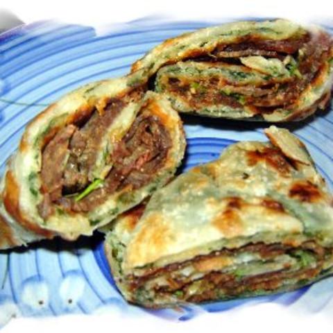 Oriental Meat Filled Pancakes
