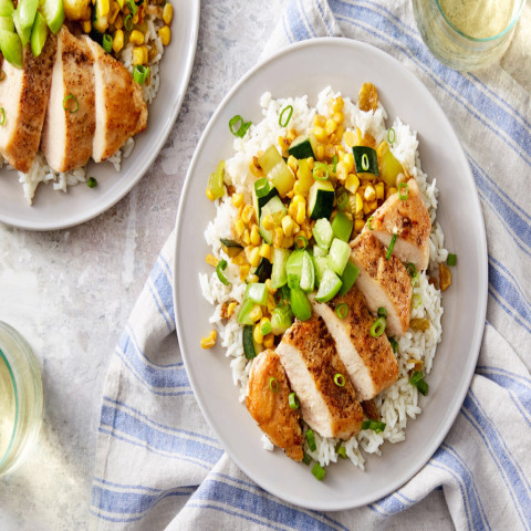 Oven-Baked Chicken in Tomatillo Saucewith Rice, Corn, and Golden Raisin Sal