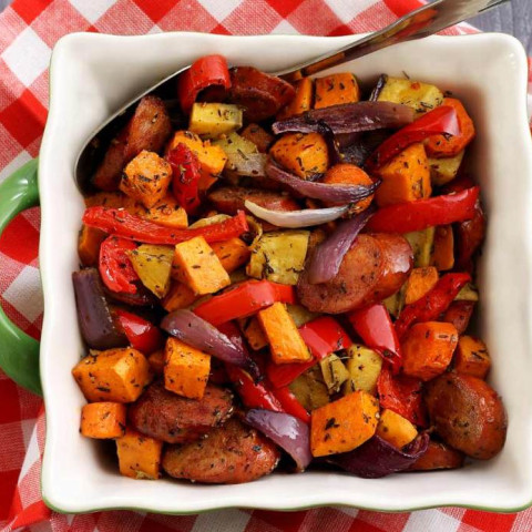 Paleo Chop & Drop Roasted Veggies & Sausage Recipe