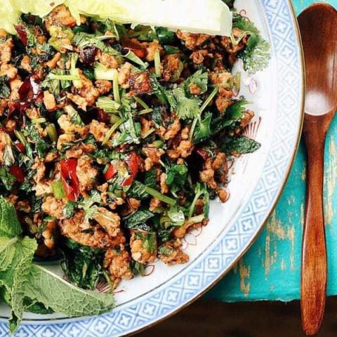 Paleo Thai Minced Chicken Herbal Salad